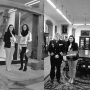 Balbina Gándara nas entregas de Exponav con Ainhoa Diaz e co Capitan do Navío Bartolomé do Museo Naval Militar de Ferrol